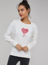 Heart Shaped Print Pullover Women's Hoodie