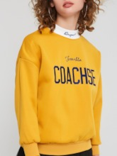 Stand Collar Letter Embroideried Women's Hoodie