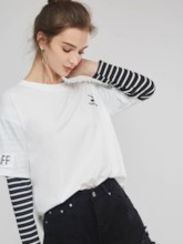 Stripe Long Sleeve Double-Layer Patchwork Women's T-Shirt