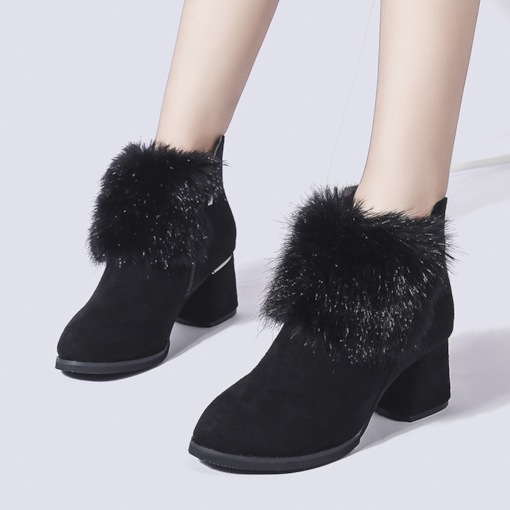 Suede Round Toe Side Zipper Chunky Heel Short Floss Ankle Boots