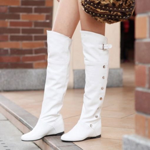 PU Slip-On Round Toe Beads Buckle Elevated Women's Knee High Boots