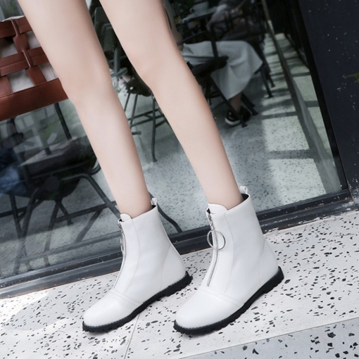Round Toe Front Zipper Block Heel Casual Sewing Ankle Boots