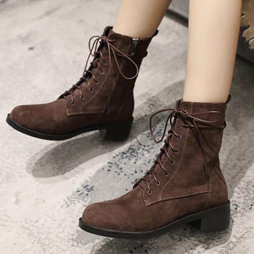 Suede Round Toe Block Heel Side Zipper Cross Strap Casual Ankle Boots