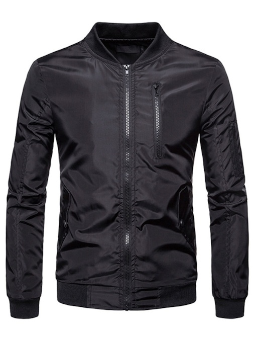 Stand Collar Slim Zipper Men's Jacket