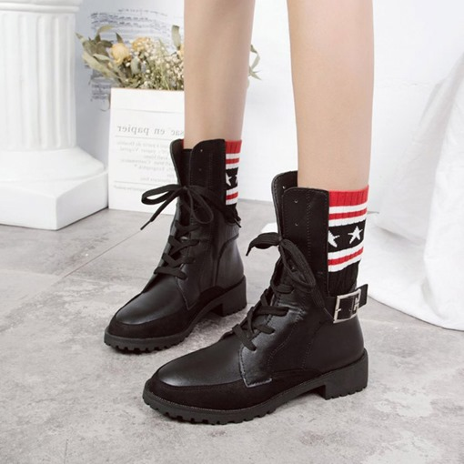 Lace-Up Front Block Heel Buckle Patchwork Trendy Ankle Boots