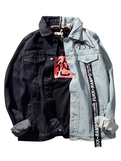Loose Lapel Color BlockPatchwork Men's Denim Jacket
