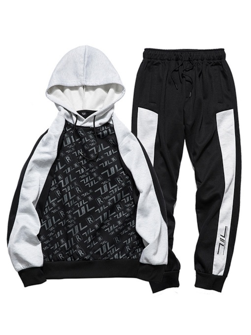 Casual Patchwork Letter Printed Men's Sports Suit