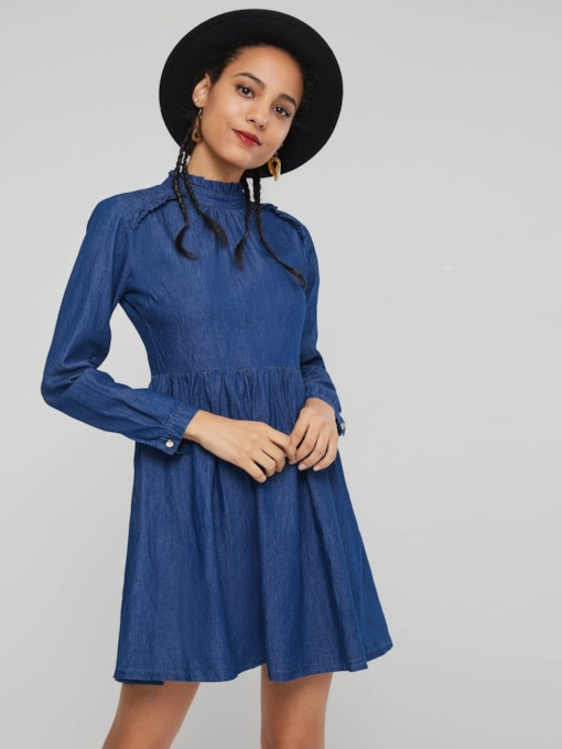 Stand Collar A-Line Women's Long Sleeve Dress