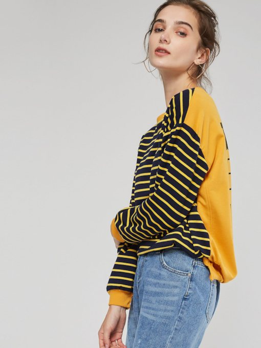 Stripe Color Block Scoop Women's Women's Sweatshirt