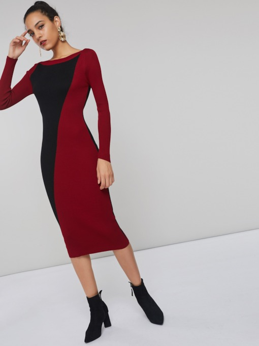 Color Block Round Neck Women's Long Sleeve Dress