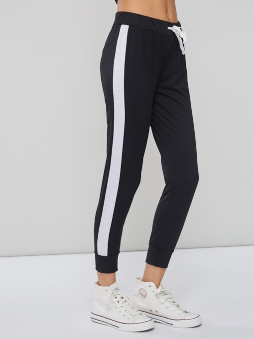Color Block Stripe Drawstring Slim Fit Women's Leggings
