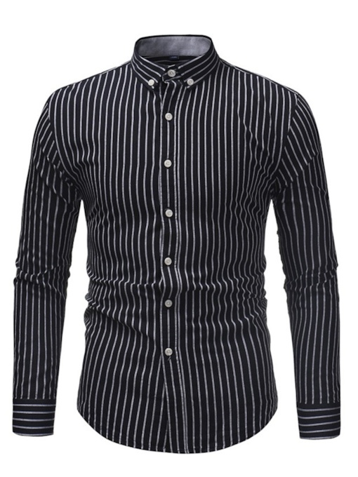 Slim Lapel Stripe Printed Men's Shirt