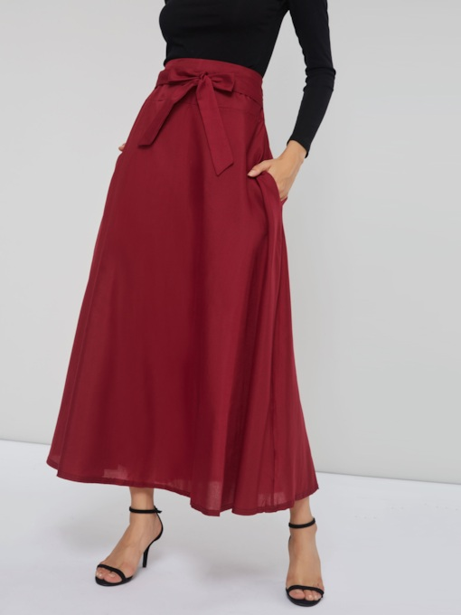 Tie Waist Ankle Length Plain Women's Skirt