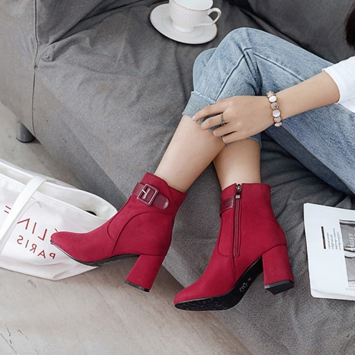 Side Zipper Chunky Heel Buckle Round Toe Stylish Ankle Boots