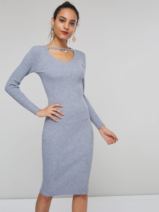Elegant Bodycon Plain Women's Sweater Dress