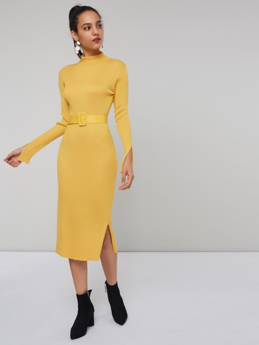 Turtleneck Belt Women's Long Sleeve Dress