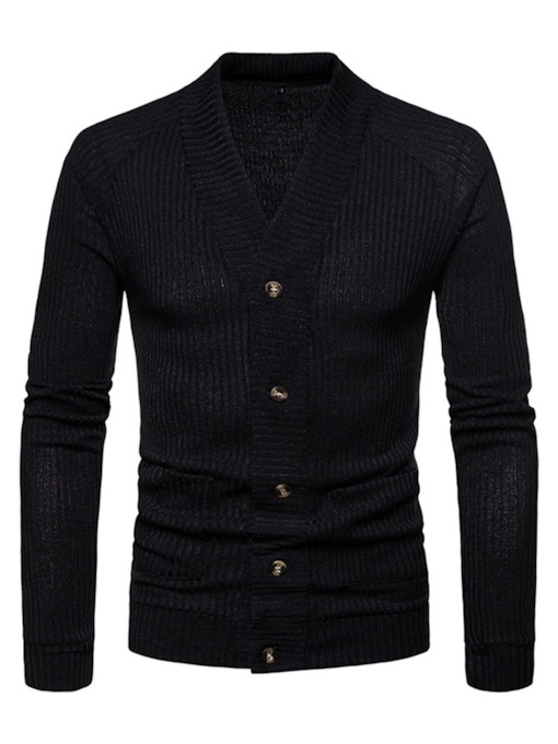 Slim Plain Cardigan V-Neck Men's Sweater