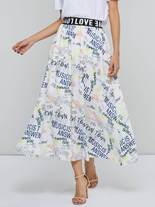 Letter Print Ankle Length Women's Skirt