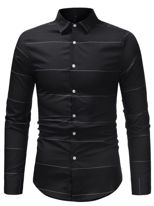 Lapel Stripe Printed Men's Shirt