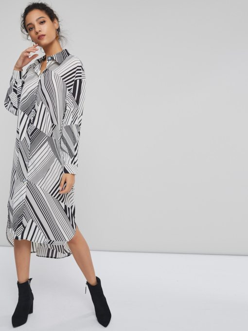 Stripe Print Long Sleeve Women's Maxi Dress