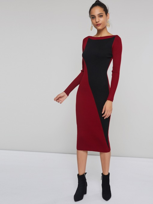 Color Block Round Neck Patchwork Women's Long Sleeve Dress