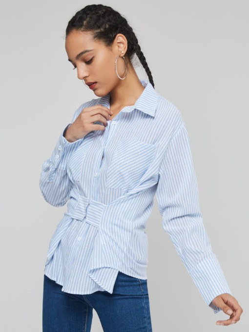 Slim Color Block Stripe Single-Breasted Women's Shirt