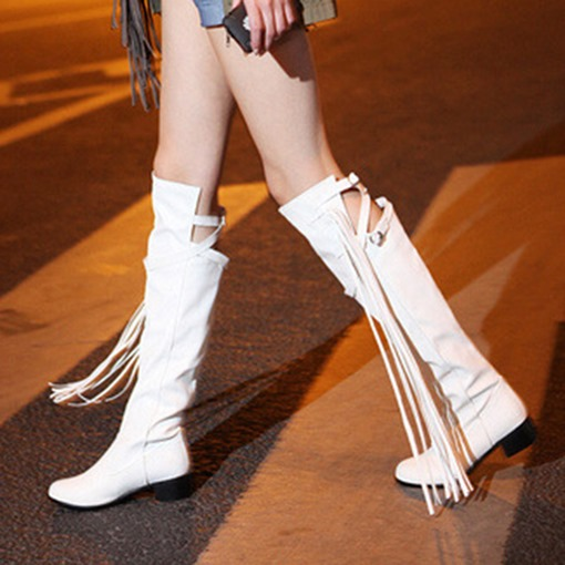 Hasp Round Toe Tassel Block Heel Casual Knee High Boots