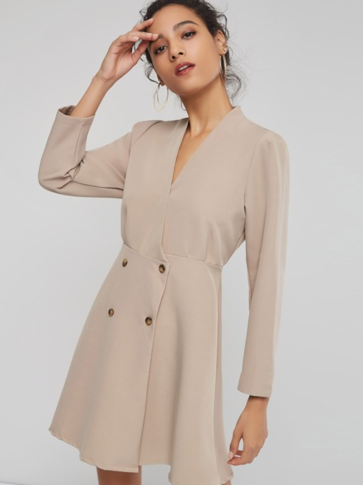 Double-Breasted A-Line Women's Long Sleeve Dress