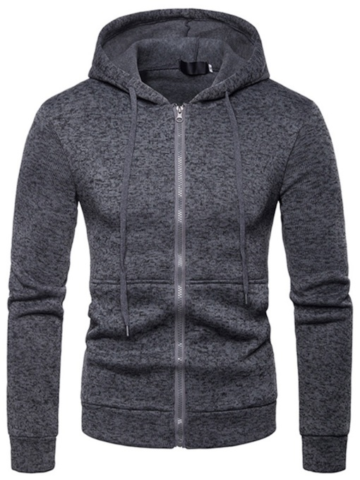 Slim Zipper Plain Men's Hoodie