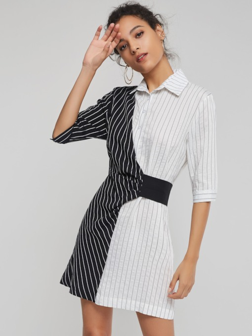 Half Sleeve stripe Women's Day Dress