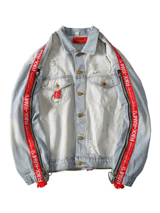 Loose Lapel Worn Hole Patchwork Men's Denim Jacket