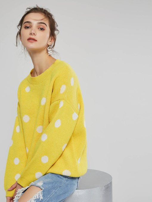 Loose Scoop Neck Polka Dots Pullover Women's Sweater