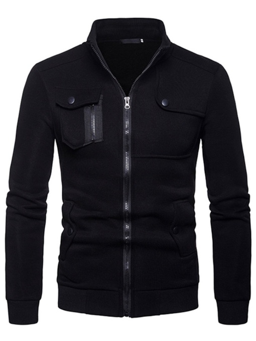 Stand Collar Patchwork Slim Zipper Men's Jacket