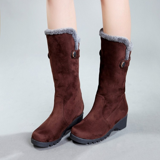 Round Toe Slip-On Short Floss Lining Casual Mid Calf Snow Boots