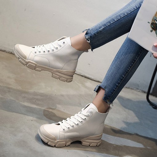 Lace-Up Front Round Toe Block Heel Chic Women's Martin Boots