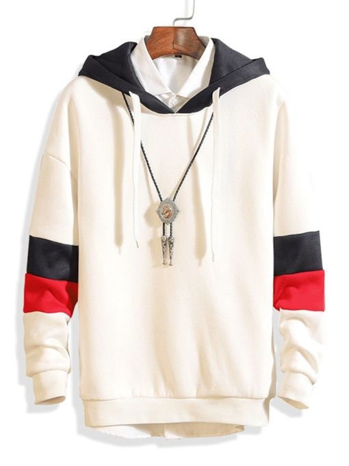 Color Block Patchwork Slim Men's Hoodie