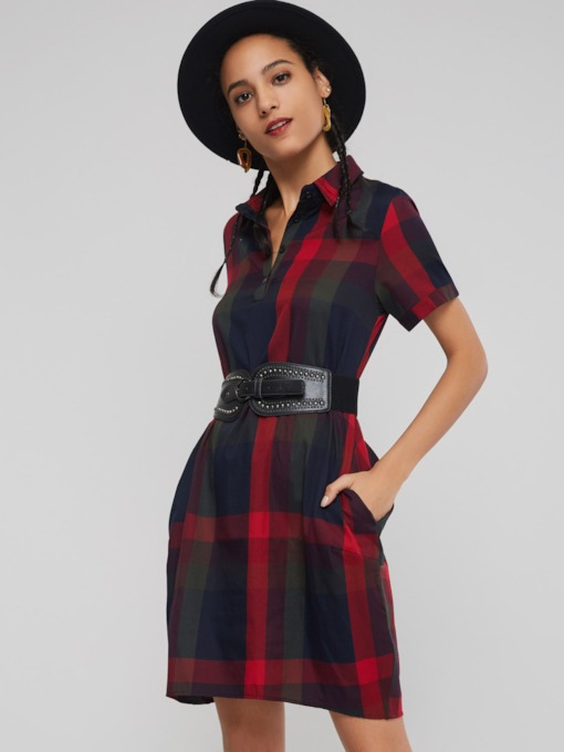 Plaid Short Sleeve Botton Women's Day Dress