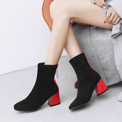 Suede Round Toe Back Zip Chunky Heel Chic Ankle Boots