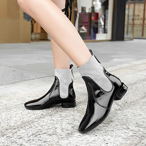 PU Slip-On Patchwork Square Toe Chic Block Heel Ankle Boots