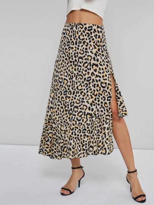 Casual A Line Asymmetric Split Leopard Skirt