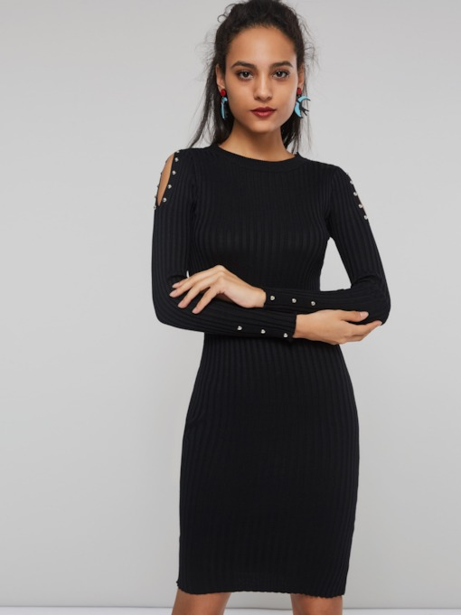 Hollow Bead Bodycon Women's Sweater Dress