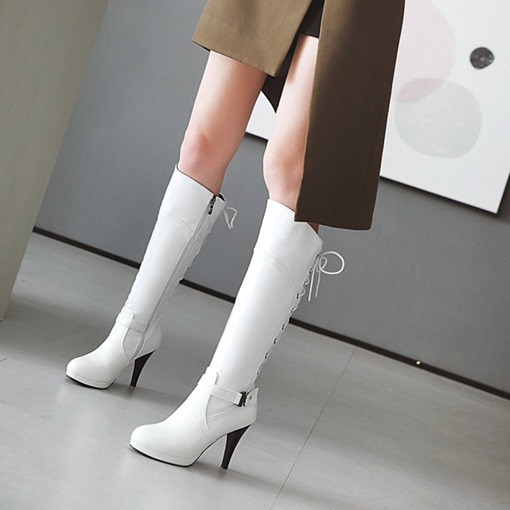 Side Zipper Round Toe Cross Strap Platform Buckle Knee High Boots