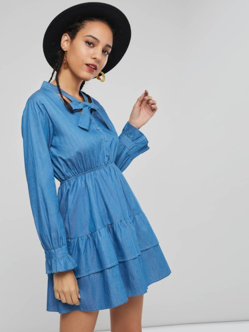Bowknot Hollow Women's Long Sleeve Dress