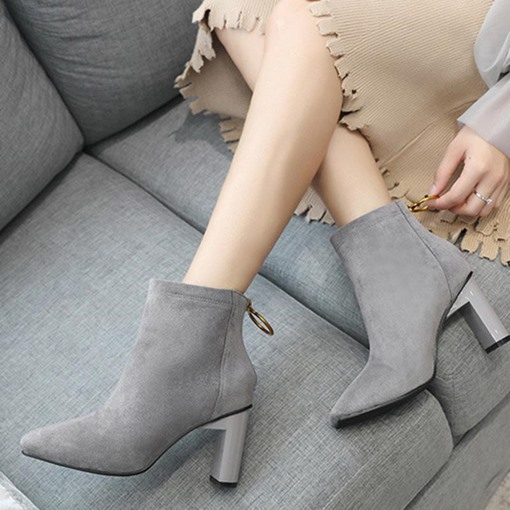 Suede Square Toe Chunky Heel Back Zip Casual Ankle Boots