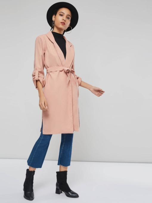 Notched Lapel Belt Plain Patchwork Women's Trench Coat