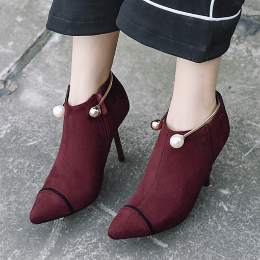 Side Zipper Pointed Toe Spool Heel Beads Elegant Ankle Boots