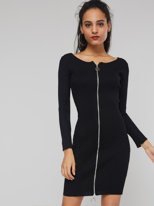 Zipper Zipper Plain Women's Sweater Dress
