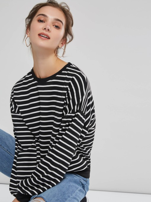 Loose Color Block Stripe Women's Hoodie