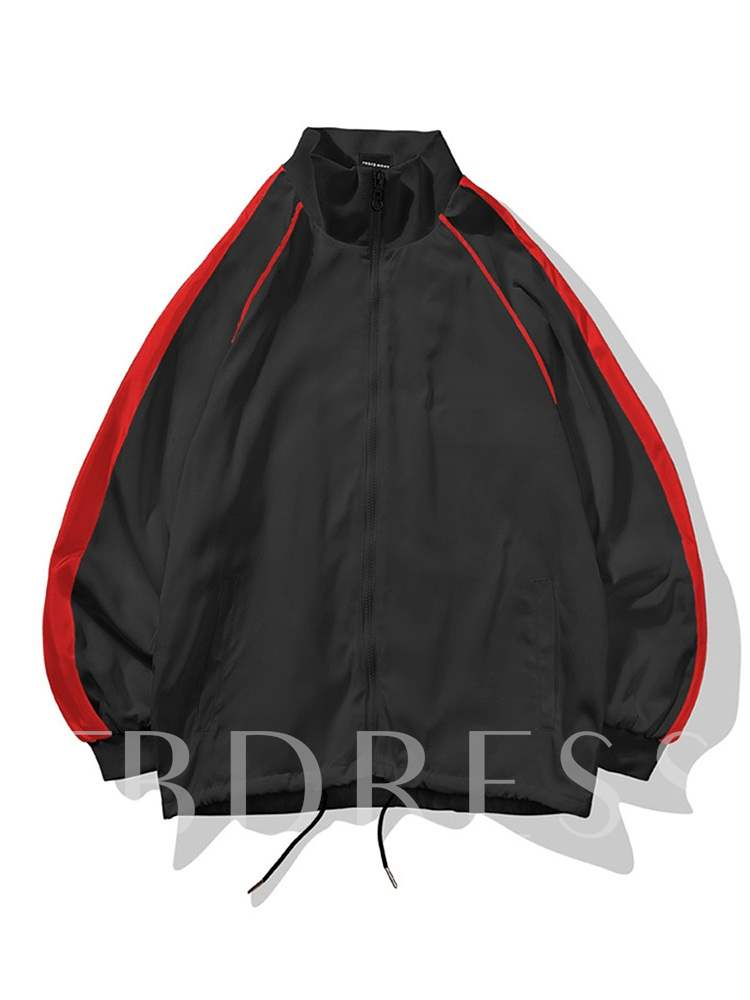 Buy Slim Stand Collar Color Block Patchwork Zipper Men's Jacket, Fall, 13465663 for $36.41 in TBDress store