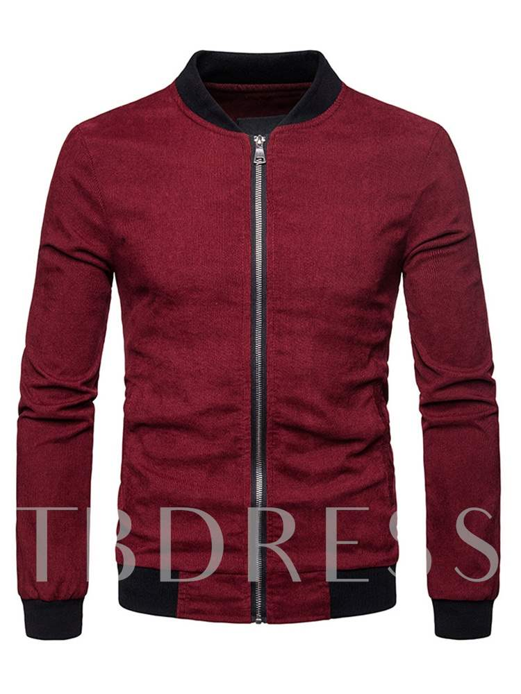 Buy Slim Stand Collar Patchwork Zipper Men's Jacket, Fall,Winter, 13468985 for $32.65 in TBDress store